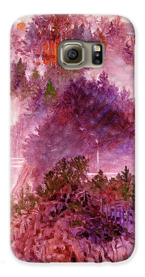Landscape Galaxy S6 Case featuring the painting Lake Memories by John Lautermilch