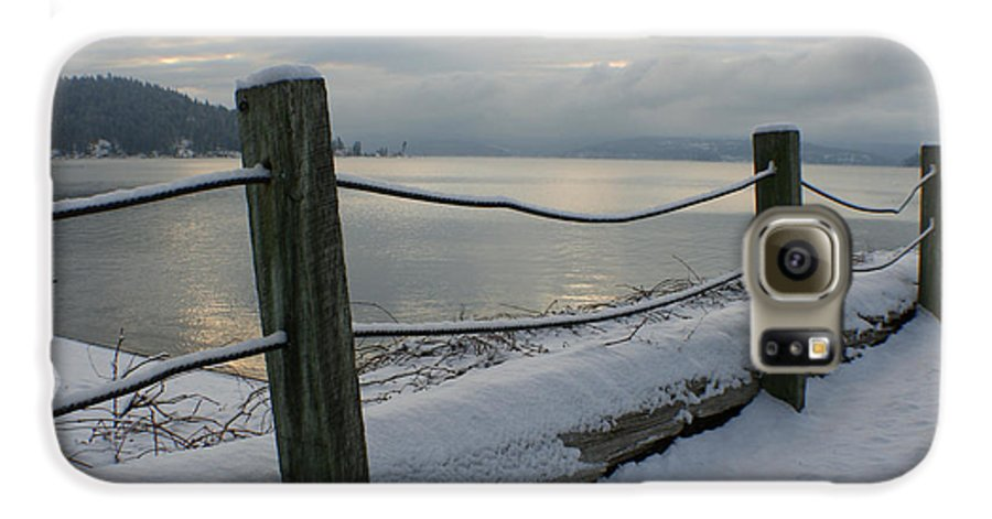 Fence Galaxy S6 Case featuring the photograph Lake Snow by Idaho Scenic Images Linda Lantzy
