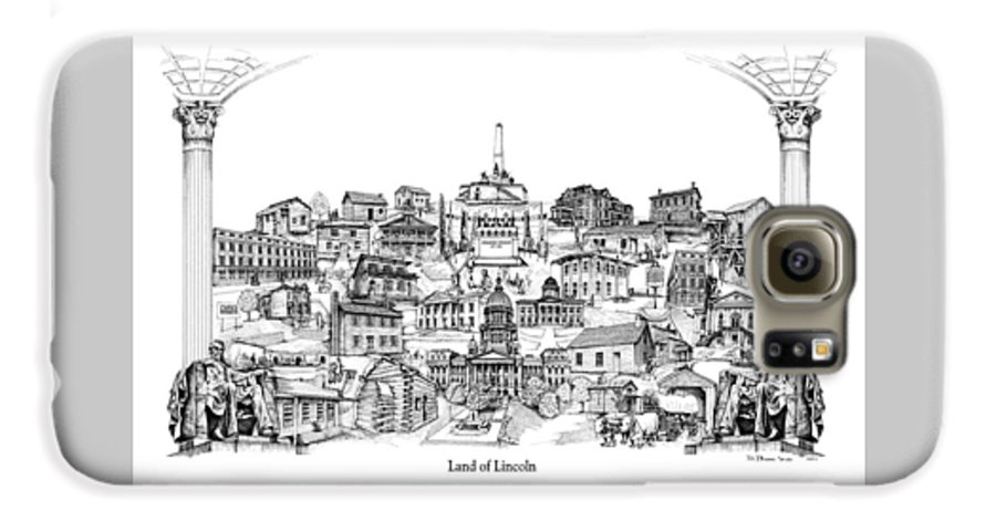 City Drawing Galaxy S6 Case featuring the drawing Land Of Lincoln by Dennis Bivens