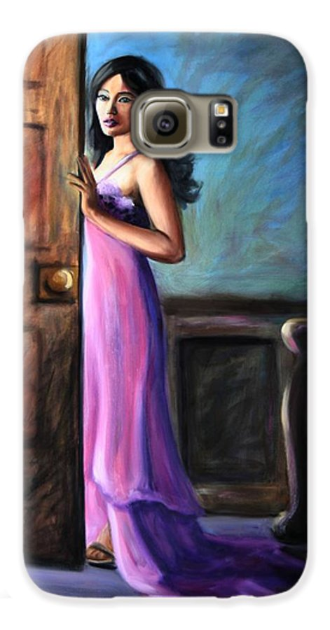 Woman Galaxy S6 Case featuring the painting Last Glance by Maryn Crawford