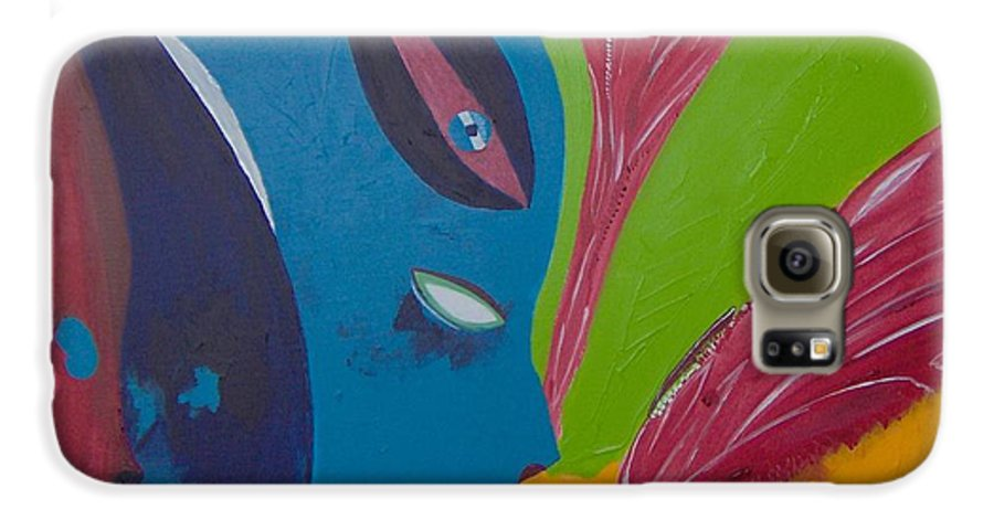 Red Galaxy S6 Case featuring the painting Laune Des Fauns by Michael Puya