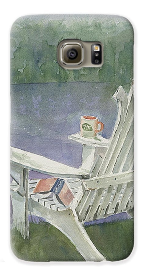 Chair Galaxy S6 Case featuring the painting Lawn Chair By The Lake by Arline Wagner