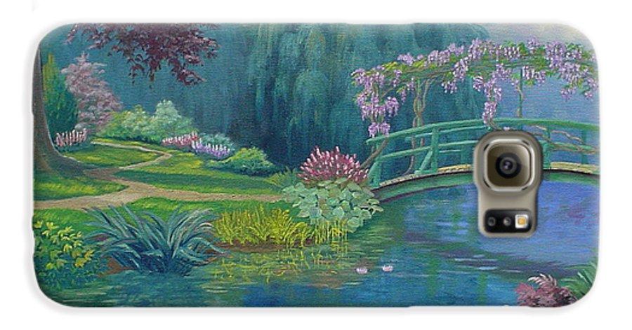 Landscape Galaxy S6 Case featuring the painting Le Pont Japonais by Tan Nguyen