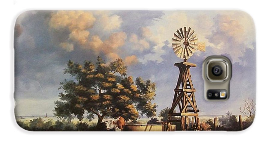 A New Mexico Landscape. Galaxy S6 Case featuring the painting Lea County Memories by Wanda Dansereau