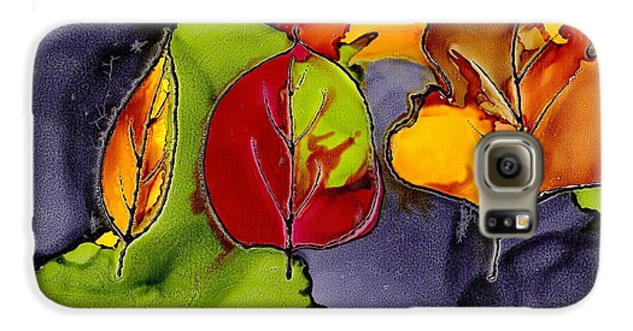 Leaf Galaxy S6 Case featuring the painting Leaf Brilliance by Susan Kubes