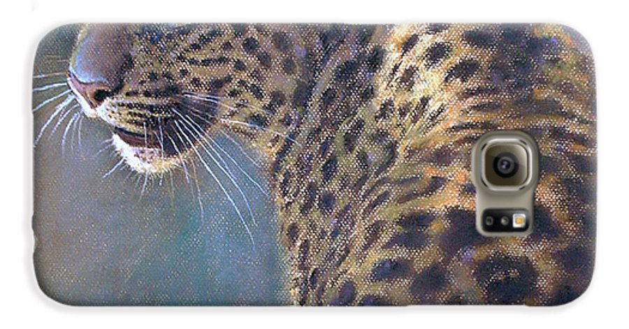 Cats Galaxy S6 Case featuring the painting Leopard by Iliyan Bozhanov