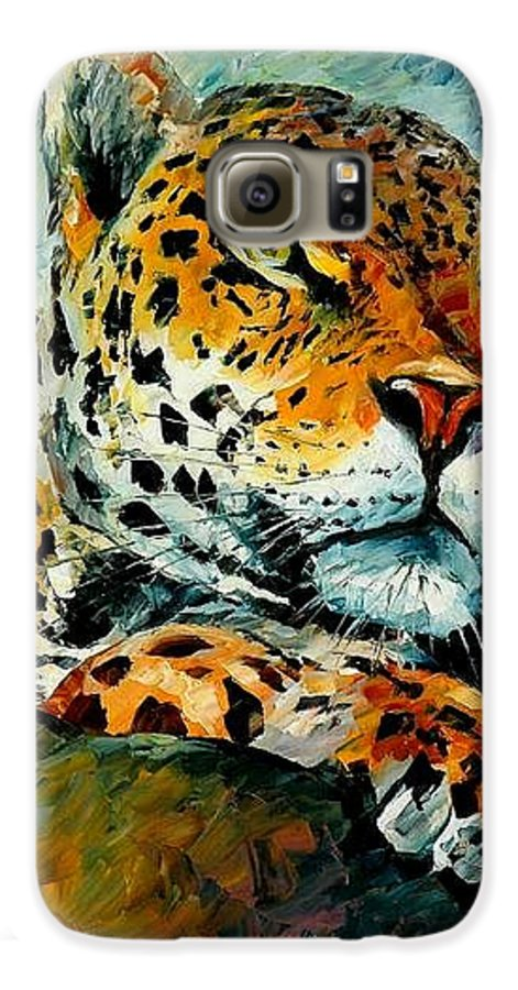 Animals Galaxy S6 Case featuring the painting Leopard by Leonid Afremov