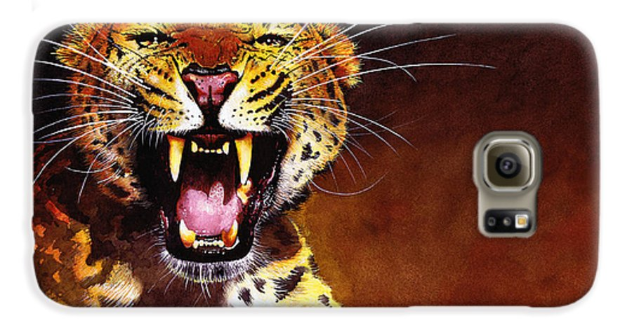 Leopard Galaxy S6 Case featuring the painting Leopard by Paul Dene Marlor