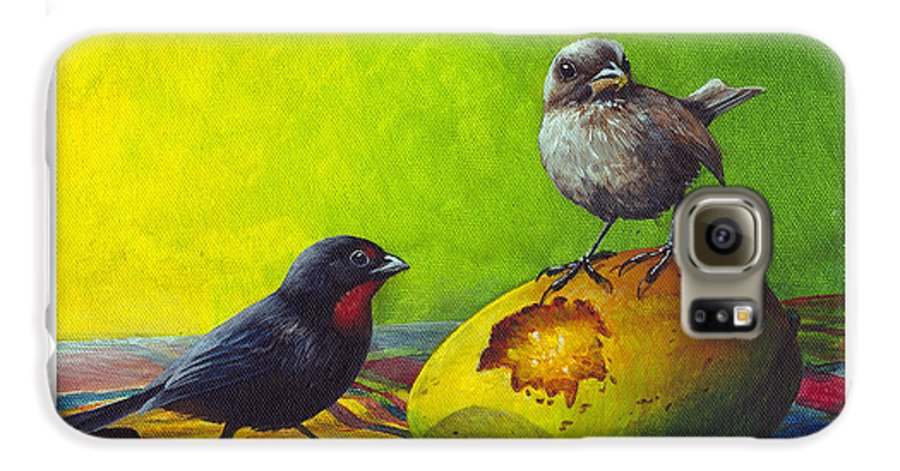 Chris Cox Galaxy S6 Case featuring the painting Lesser Antillean Bullfinches And Mango by Christopher Cox