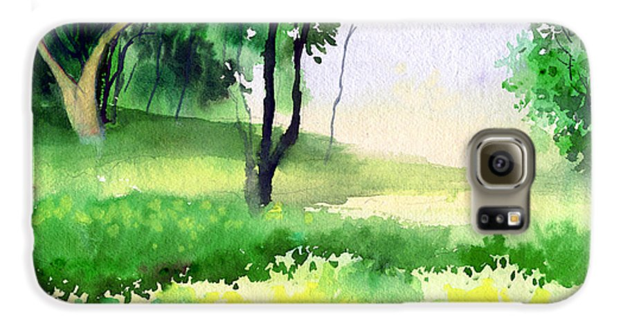 Watercolor Galaxy S6 Case featuring the painting Let's Go For A Walk by Anil Nene
