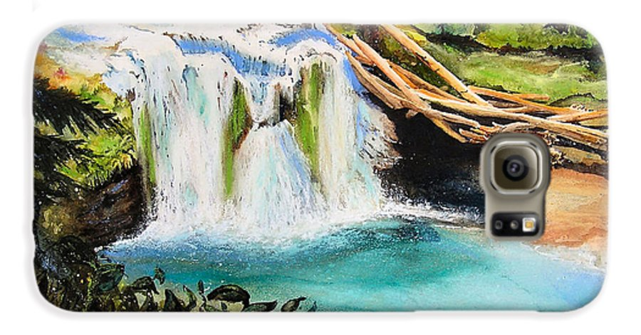 Water Galaxy S6 Case featuring the painting Lewis River Falls by Karen Stark