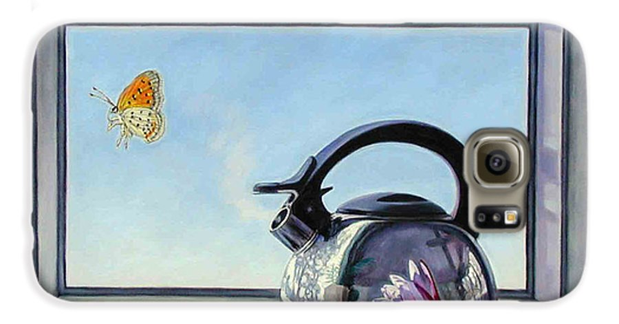 Steam Coming Out Of A Kettle Galaxy S6 Case featuring the painting Life Is A Vapor by John Lautermilch