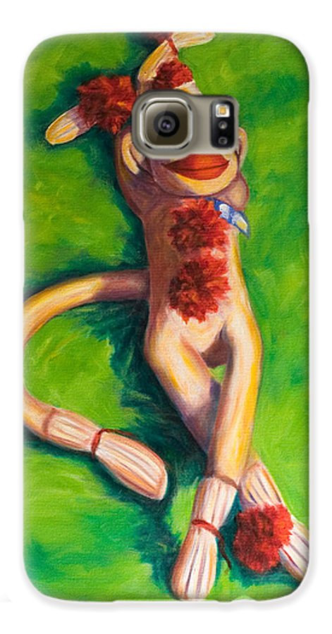 Sock Monkey Galaxy S6 Case featuring the painting Life Is Good by Shannon Grissom