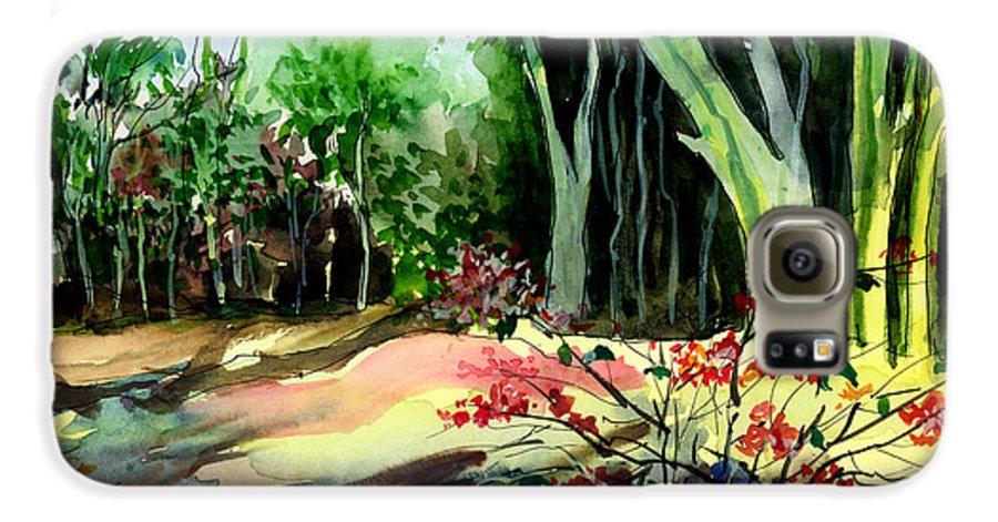 Watercolor Galaxy S6 Case featuring the painting Light In The Woods by Anil Nene
