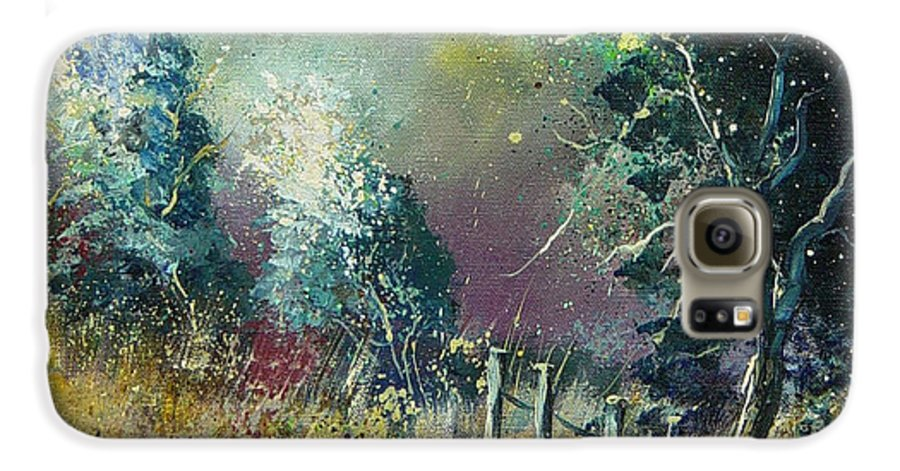 Landscape Galaxy S6 Case featuring the painting Light On Trees by Pol Ledent