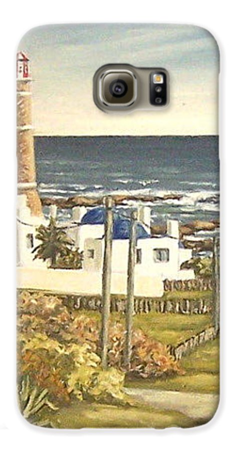 Lighthouse Seascape Sea Water Uruguay Galaxy S6 Case featuring the painting Lighthouse Uruguay by Natalia Tejera