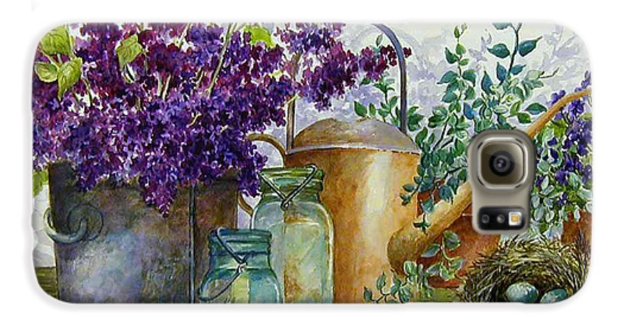 Still Life;lilacs; Ball Jars; Watering Can;bird Nest; Bird Eggs; Galaxy S6 Case featuring the painting Lilacs And Ball Jars by Lois Mountz