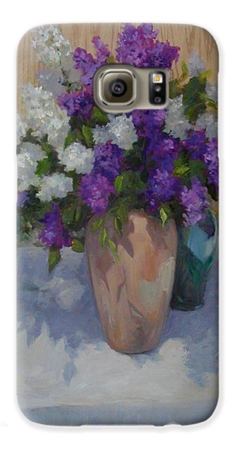 Lilacs Galaxy S6 Case featuring the painting Lilacs by Patricia Kness