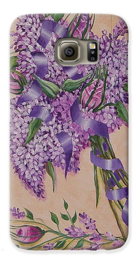 Lilacs Galaxy S6 Case featuring the painting Lilacs by Quwatha Valentine