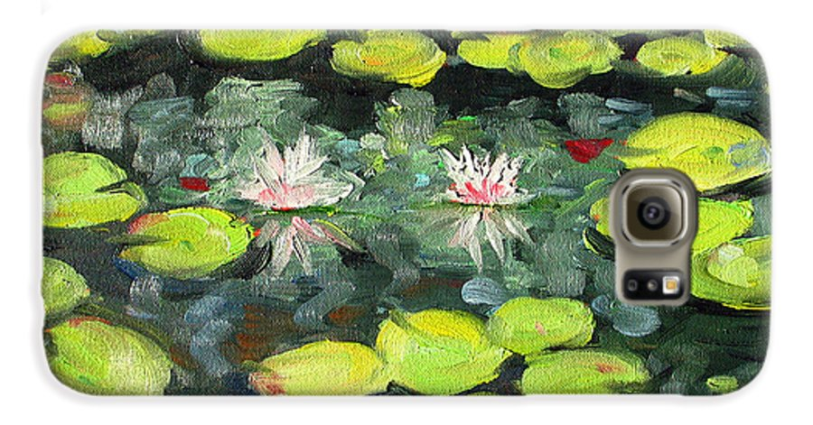 Pond Galaxy S6 Case featuring the painting Lily Pond by Paul Walsh