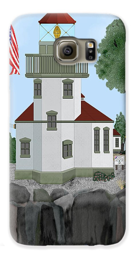 Lighthouses Galaxy S6 Case featuring the painting Lime Kiln Light On San Juan Island by Anne Norskog