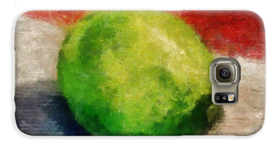 Lime Galaxy S6 Case featuring the painting Lime Still Life by Michelle Calkins