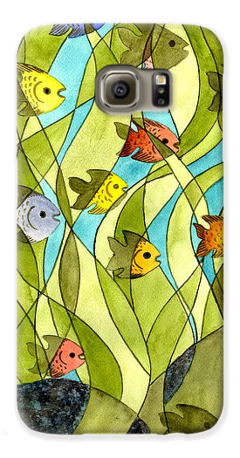 Fish Galaxy S6 Case featuring the painting Little Fish Big Pond by Catherine G McElroy