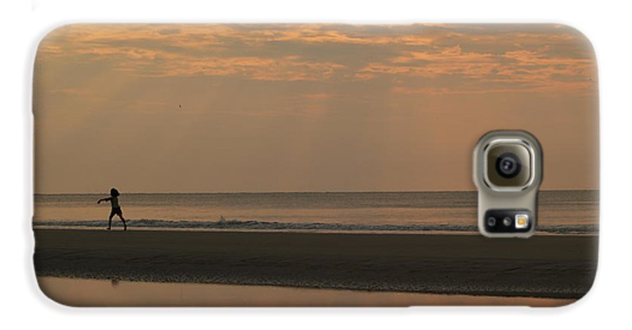 Sunrise Galaxy S6 Case featuring the photograph Little Girl In Hunting Island Sunrise by Anna Lisa Yoder