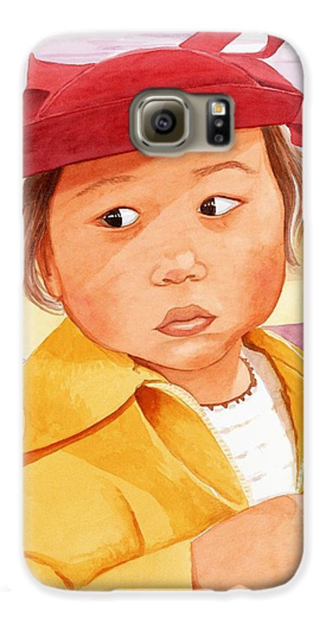 Little Japanese Girl In Red Hat Galaxy S6 Case featuring the painting Little Girl In Red Hat by Judy Swerlick