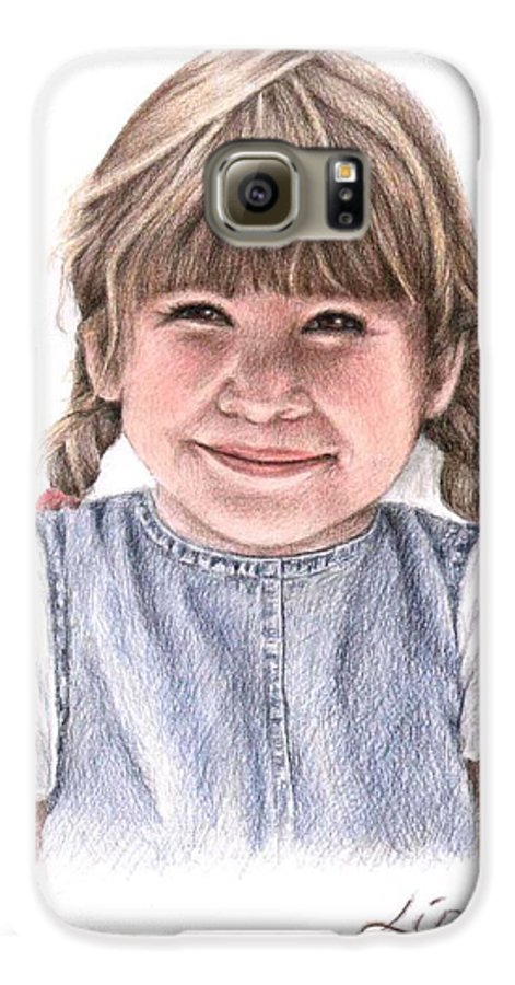 Girl Galaxy S6 Case featuring the drawing Little Girl by Nicole Zeug