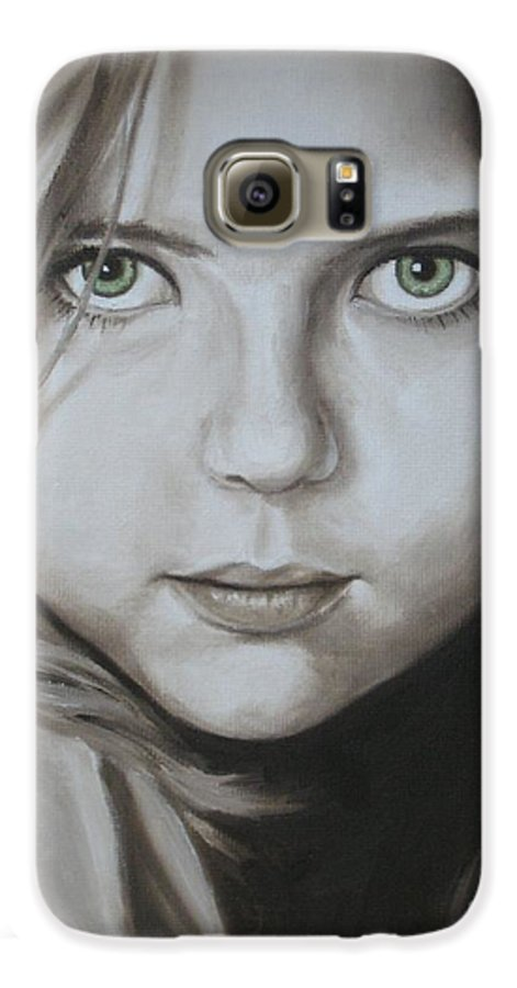 Portrait Galaxy S6 Case featuring the painting Little Girl With Green Eyes by Jindra Noewi
