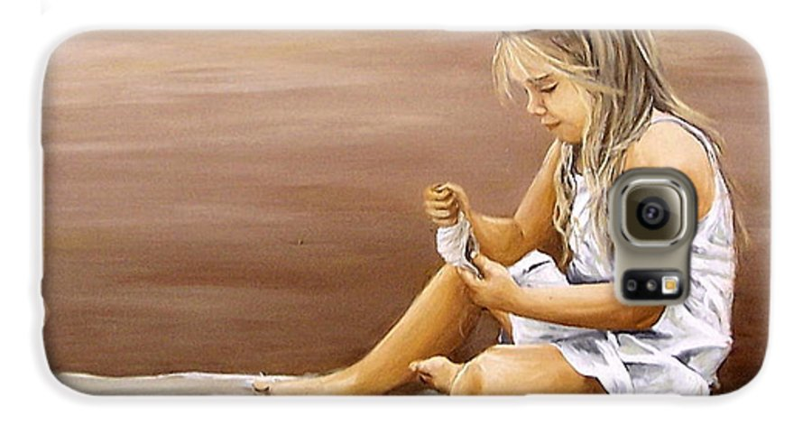 Children Girl Sea Shell Seascape Water Portrait Figurative Galaxy S6 Case featuring the painting Little Girl With Sea Shell by Natalia Tejera