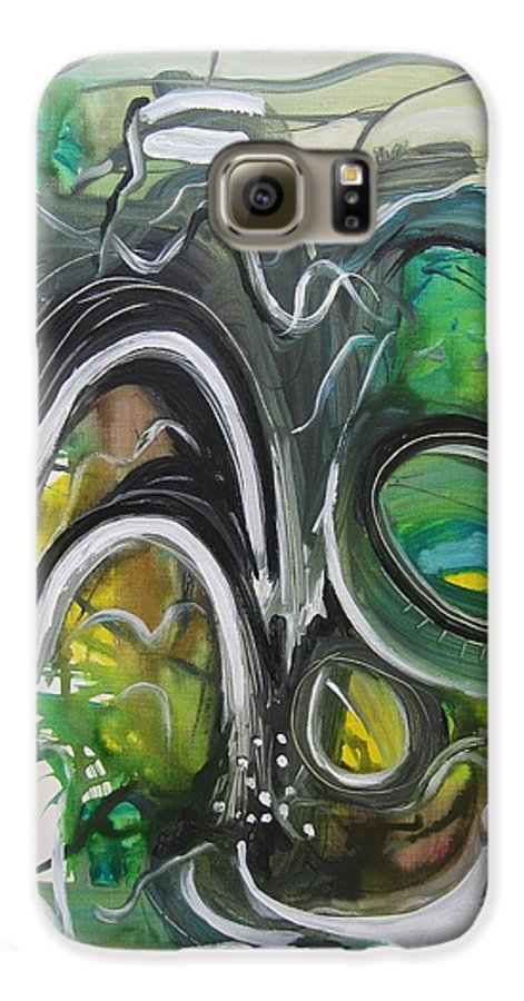 Abstract Paintings Galaxy S6 Case featuring the painting little impression on Alexander trail by Seon-Jeong Kim
