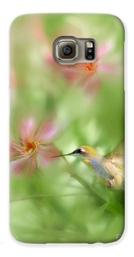 Garden Hummingbird Floral Green Tropical Oleander Galaxy S6 Case featuring the photograph Little Miracles by Carolyn Staut
