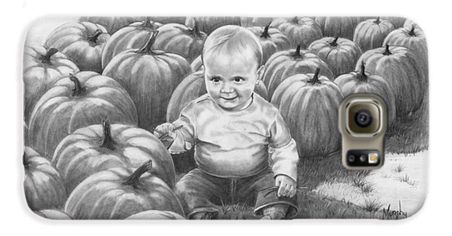Charity Galaxy S6 Case featuring the drawing Little Pumpkin by Murphy Elliott