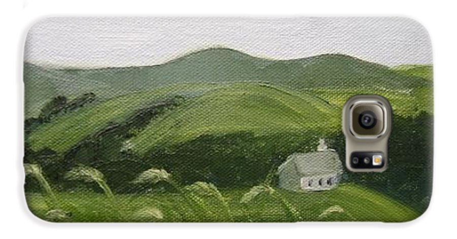 Landscape Galaxy S6 Case featuring the painting Little Schoolhouse On The Hill by Toni Berry