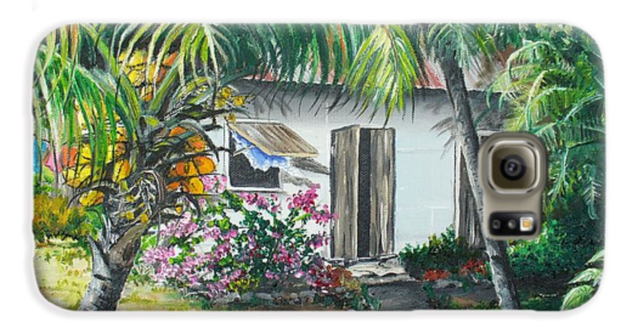 Caribbean Painting Typical Country House In Trinidad And The Islands With Coconut Tree Tropical Painting Galaxy S6 Case featuring the painting Little West Indian House 2...sold by Karin Dawn Kelshall- Best