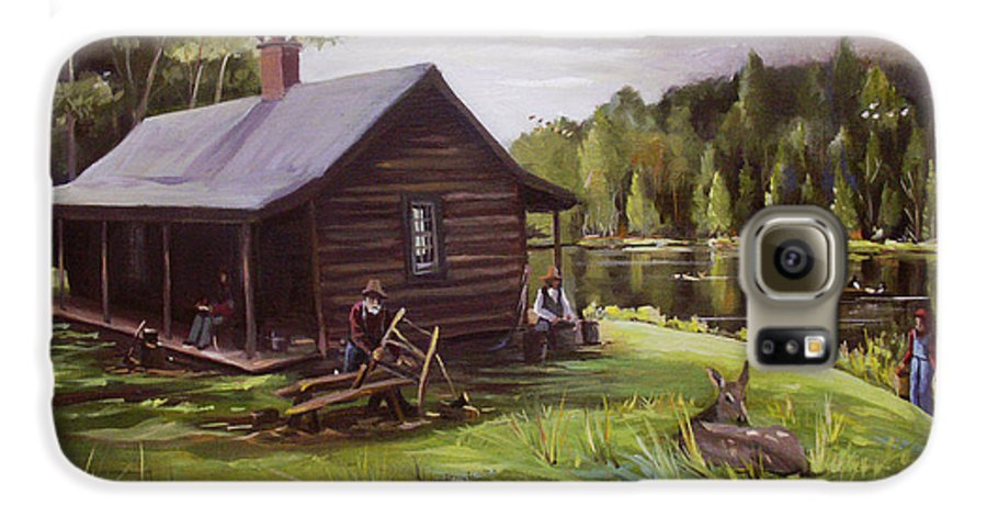 Log Cabin Galaxy S6 Case featuring the painting Log Cabin By The Lake by Nancy Griswold