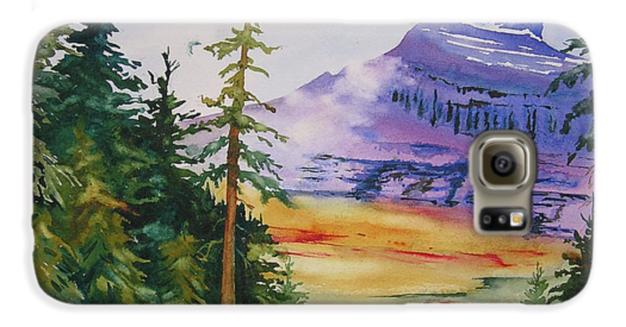 Landscape Galaxy S6 Case featuring the painting Logan Pass by Karen Stark