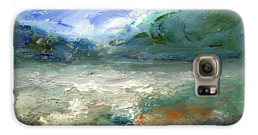 Lake Galaxy S6 Case featuring the painting Lombard Lake by Mario Zampedroni