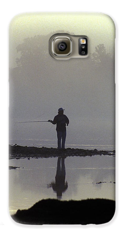 Early Galaxy S6 Case featuring the photograph Lone Fisherman by Carl Purcell