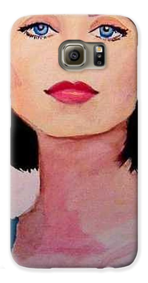 Sexy Lady Galaxy S6 Case featuring the painting Look by Laura Rispoli