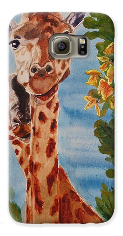 Giraffes Galaxy S6 Case featuring the painting Lookin Back by Karen Ilari