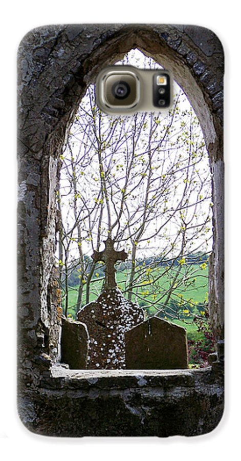 Ireland Galaxy S6 Case featuring the photograph Looking Out Fuerty Church Roscommon Ireland by Teresa Mucha