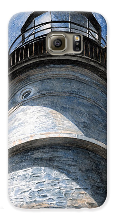 Lighthouse Galaxy S6 Case featuring the painting Looking Up Portland Head Light by Dominic White