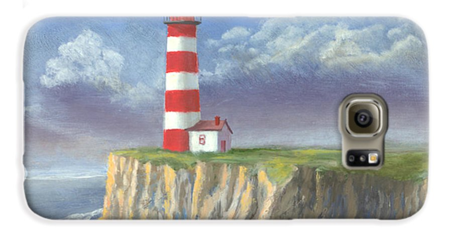 Light Galaxy S6 Case featuring the painting Lost Point Light by Jerry McElroy