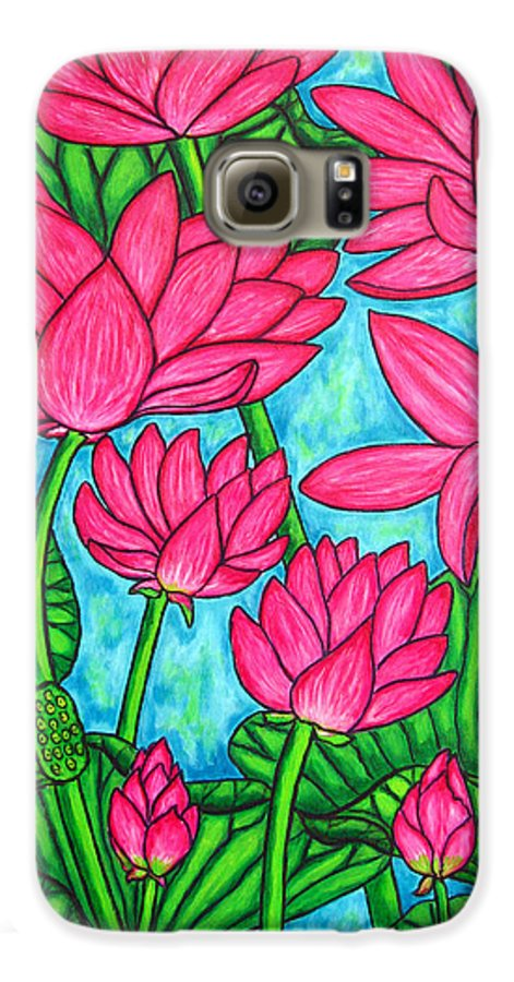 Galaxy S6 Case featuring the painting Lotus Bliss by Lisa Lorenz