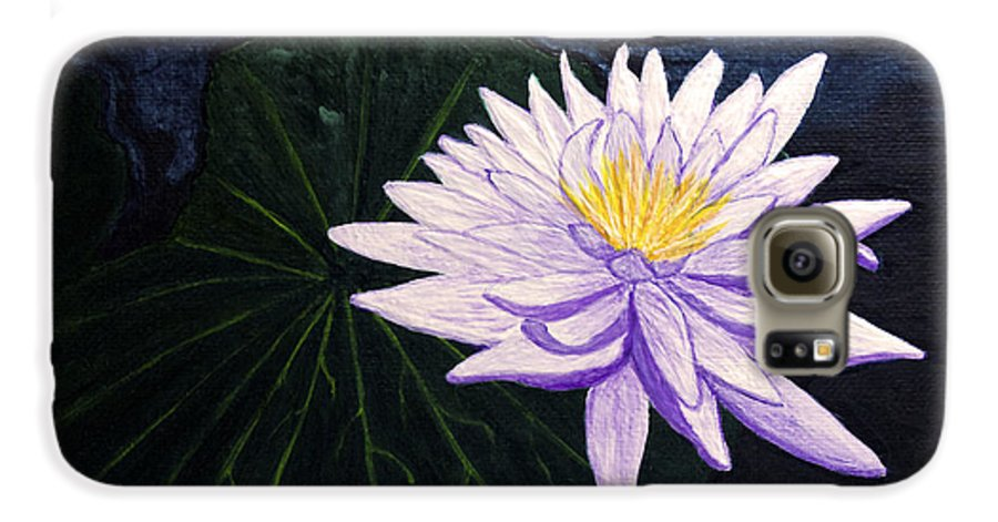 Original Painting Galaxy S6 Case featuring the painting Lotus Blossom At Night by Patricia Griffin Brett