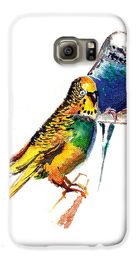 Nature Galaxy S6 Case featuring the painting Love Birds by Anil Nene