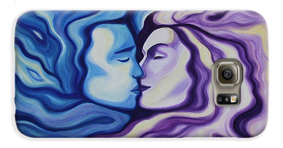 Acrylic Galaxy S6 Case featuring the painting Lovers In Eternal Kiss by Jindra Noewi